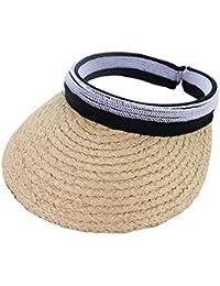 Fortem サンバイザー 日よけ帽子 ツバ広バイザー 日焼け防止 手作り編み アウトドア ビーチ 運動 草製 ファッション