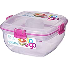 (1x Pink) - Sistema Salad to Go 1.1 Litre with Cutlery Partition and Dressing Container 1x Pink