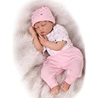 SanyDoll Reborn Baby Doll Soft Silicone 22inch 55cm Magnetic Lovely Lifelike Cute Lovely Baby Cute pink suit sleeping