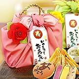 敬老の日 プレゼント 人気スイーツと和菓子のギフトセット(編み籠入り風呂敷包) ピンク風呂敷