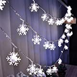 40 LEDs 19.6ft Snowflake Lights, Fairy String Lights Battery Operated Indoor/Outdoor Fairy Light for Bedroom Patio Garden Party Christmas Decorations, White
