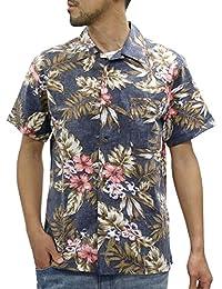 [ルーシャット] アロハシャツ コットン 裏使い 総柄プリントシャツ