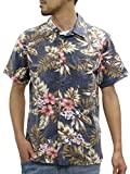 ROUSHATTE(ルーシャット) アロハシャツ コットン 裏使い 総柄プリントシャツ ダークネイビー S