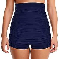 Mycoco Women's Super High Waist Swim Shorts Shirred Tummy Control Tankini Bottom Swimwear Brief