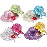 女の子用 ひまわり 麦わら帽子 女の子用 ティーパーティーハットセット (各セット8個、アソートカラー、キッズ用2-6)