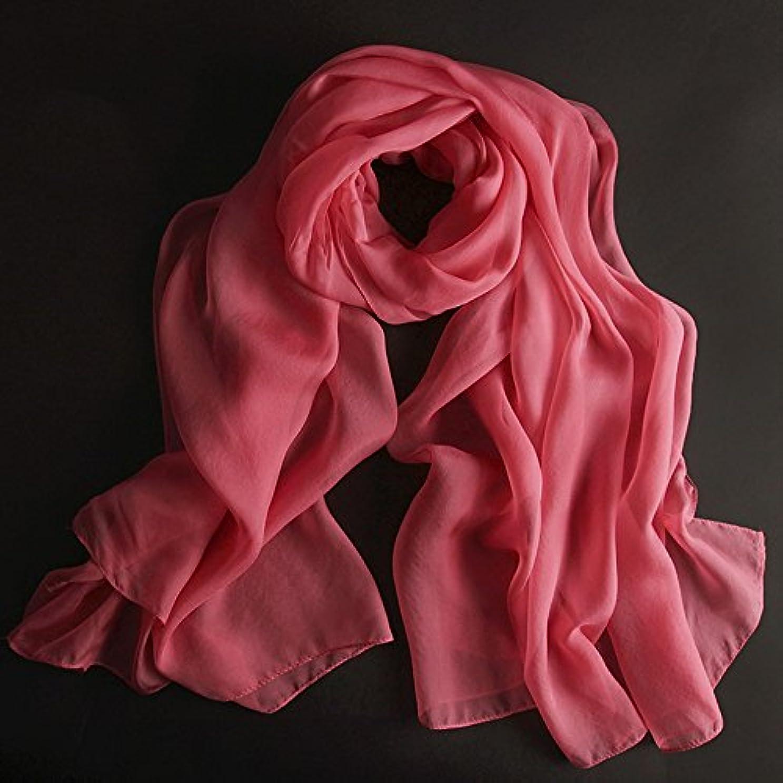 ポーク失業者器用HAIZHEN マフラー 女性のシルクスカーフ100%のシルクの春と冬の冬シルクスカーフショールの長方形180 * 110cm (色 : スイカの赤)