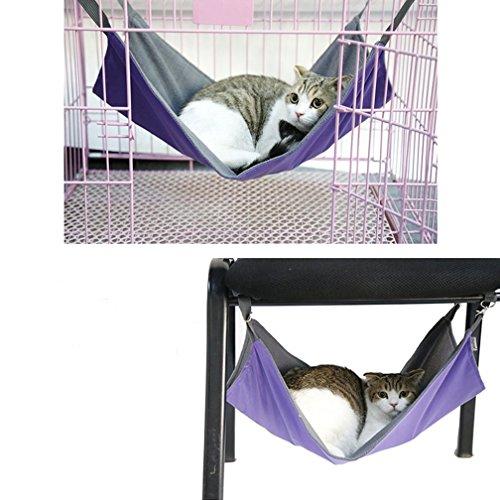 キャットハンモック チェア ニャンモック ニャンモック ねこ用ハンモック ペット用品 猫 取り付け簡単 さらさら さわやか 春夏秋冬でも使える2wayハンモック (パープル)