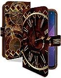 Xperia Z5 SO-01H ケース 手帳型 クロック ダイヤ スチームパンク スマホケース エクスペリアZ5 手帳 カバー XperiaZ5 so01h so01hケース so01hカバー 時計 ぜんまい 時計柄 [クロック ダイヤ/t0398b]