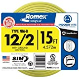 Southwire 28828226 15-Feet 12-Gauge Indoor Building Wire 2 Conductors 12/2 with Ground Type NM-B Romex SIMpull, Yellow Outer
