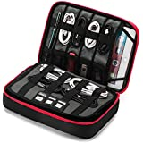 """BAGSMART 3-Layer Large Travel Cable Organizer Electronics Accessories Case for 9.7"""" iPad, Kindle, External Hard Drives, Cables, Black and Red"""