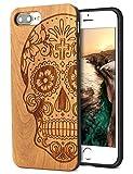 YFWOOD 人と被らないiPhone7 plus 8plusケース 木 フィルム付 ドクロ 高級レーザー彫刻IPhone8プラスケース