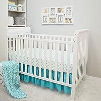 American Baby Company 3 Piece Crib Bedding Set, Aqua, 28 x 52 by American Baby Company
