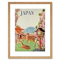 Travel Japan Deer Blossom Pagoda Temple Mountain Lantern Framed Wall Art Print 旅行日本鹿花寺院山壁