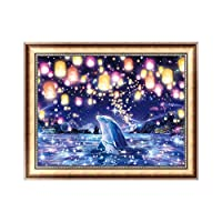 kofan 5Dダイヤモンド絵画キット DIY手作り ラインストーン インテリア装飾 家庭飾り ホーム レストラン 装飾 プレゼント 初心者向け 暇つぶし イルカ 40x30 cm