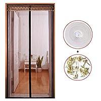 HUYYA 防虫網ドア、ハンズフリー磁気カーテン ドアフレンチドアのセルフシール磁気スクリーン,Brown_44x80in/110x200CM