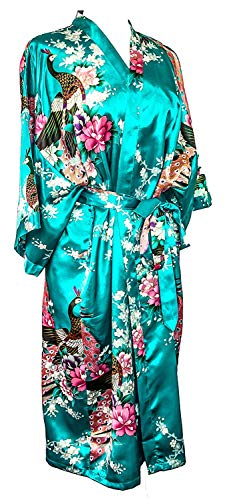 CCcollections Kimono 16 Colours Peacock Premium Dressing Gown Robe Light Weight Lounge wear (Blue Turquoise)