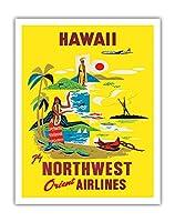 ハワイ - ノースウエスト・オリエント航空 - ビンテージなハワイの旅行のポスター c.1960s - アートポスター - 28cm x 36cm