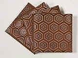 ペデスタル(板付綿入座卓敷) 亀甲柄 茶 15cm角 1組(4枚入り)