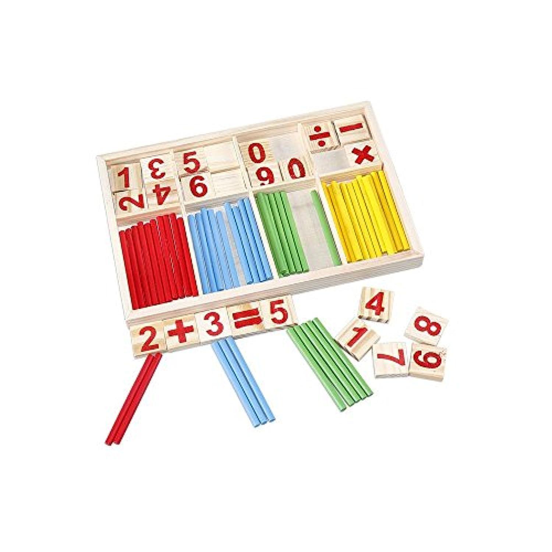 Eco Toys 天然木製のおもちゃ 子供 赤ちゃん 多機能 数字 教育 数え棒 学習 知育 数字パズル 積み木 数遊び 算数パズル 算数 かけざん 割り算 足し算 引き算 幼児知育玩具 1年生 こども 誕生日 プレゼント