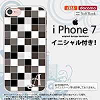 iPhone7 スマホケース ケース アイフォン7 イニシャル スクエア グレー nk-iphone7-1016ini Z