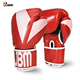 JBM Boxing Gloves Equipment Punching Gloves Sparring Gear 3 Color Available for Kickboxing MMA TKD Thai Kick 8OZ 10OZ 12OZ (赤, 8 oz)