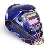 ブルースパイダー自動遮光溶接面 自動フィルター ワイドビュータイプ 遮光速度1/25000秒 ソーラー充電式溶接マスク/ 溶接ヘルメット  (くも)