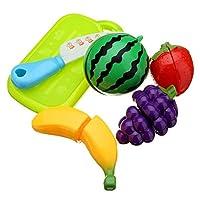 玩具アクセサリー 6ピースファンカットフルーツキッチンキッズ切削ピースロールプレイハウスおもちゃ 玩具アクセサリー