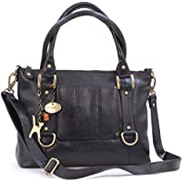 Catwalk Collection Handbags - Women's Leather Top Handle/Shoulder Bag/Cross Body With Detachable Strap - Photo ID Window/Travel Pass Holder - GALLERY