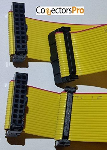 PCアクセサリー–コネクタPro 2- Pack 16インチ40cm F / F IDC 2x 1020pイエロー1.27MMフラットリボンケーブル、14インチ35cm Net長with 2.54MM FC 20ピンメスtoメス