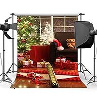 5x 7ft / 150x 210cmビニール写真バックドロップクリスマスツリー&クリスマスギフトFrench Cashヴィンテージストライプ木製床シームレスなHappy New Year肖像画背景フォトスタジオProp xm86