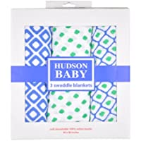 Hudson Baby Colorful Dreamer Swaddle Blanket - green/blue, one size by Hudson Baby