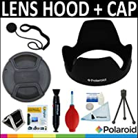 Polaroid Studio Series Lens Hood + Polaroid Studio Series Snap Mount Lens Cap + Cleaning Accessory Kit For The Sony Alpha DSLR SLT-A33 A35 A37 A55 A57 A65 A77 A99 A100 A200 A230 A290 A300 A330 A350 A380 A390 A450 A500 A560 A550 A700 A850 A900 Minolta Maxxum Digital SLR Camerass Which Have Any Of These (18-70mm 18-55mm 75-300mm 55-200mm 35mm f/1.8 85mm f/2.8 50mm 100mm) Sony Lenses