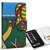 スマコレ ploom TECH プルームテック 専用 レザーケース 手帳型 タバコ ケース カバー 合皮 ケース カバー 収納 プルームケース デザイン 革 チェック・ボーダー その他 太陽 海 花 山 カラフル 005371