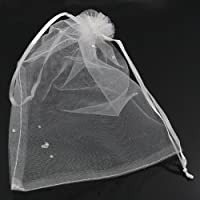 PEPPERLONELY Brand 100PC Silk Drawable Wedding Gift Bags & Pouches White Dot 20x14.5cm (7-7/8 x 5-11/16 Inch) [並行輸入品]