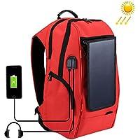 Fineserファッション多機能ソーラーパネル電源バックパック、アウトドアハイキングキャンプ旅行カレッジバッグとUSB充電とヘッドフォンポート、耐久性防水Bookbag forボーイズガールズレディースメンズ M レッド