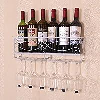 クリエイティブワインラックワイングラスホルダーゴブレットシェルフ家庭用鍛造吊り壁壁掛けヨーロッパワインラック (色 : 白)