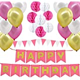 Happy Birthday Decorations Supplies, Gyvazla Happy Birthday Banner and 8pcs Pink and White Paper Honeycomb Balls, 12 Triangle Bunting Flags, 12pcs White, Gold and Pink Pearl Balloons for Kids and Adults