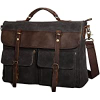 2358be891 Large Messenger Bag for Men Tocode, Vintage Waxed Canvas Satchel Leather  Briefcases Crossbody Shoulder Bags
