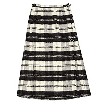 [O'NEIL OF DUBLIN【オニールオブダブリン】]バックプリーツスカート EASY LONG KILT 5083 BEWB ウール アクリル ホワイト ブラック