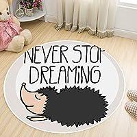 円形マット カーペットクリスタルベルベット 絨毯 ラグマット 洗える 滑り止めリビング ロアマット 書斎 ホットカーペット,Hedgehog,160cm