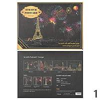 新 4 枚/ロットこする塗料夜景 ヴィンテージポストカード 描画表示花火油絵はがき装飾