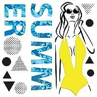 夏☆シール式ウォールステッカー summer 夏休み 90×90cm 剥がせる wall sticker 雑貨 ガラス 窓 セクシー おしゃれ 016915