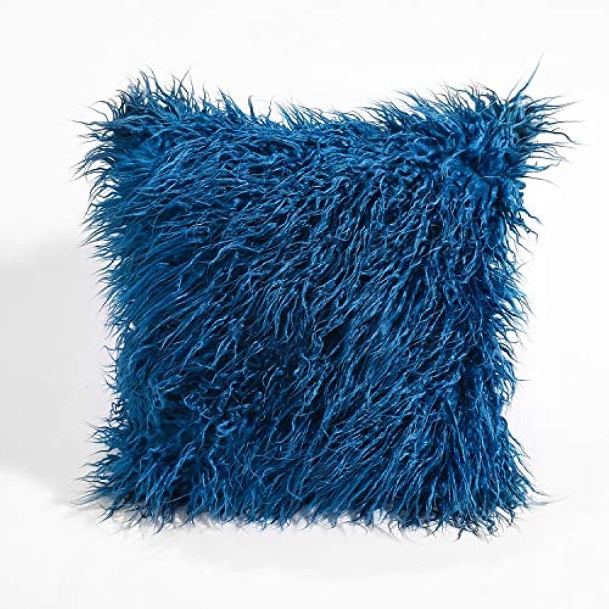 ホーン複数有益LVESHOP 装飾的な新しい高級シリーズメリノスタイルブラックフェイクファースローピローケースクッションカバー(5パック) (色 : 青, Size : 5 pack)
