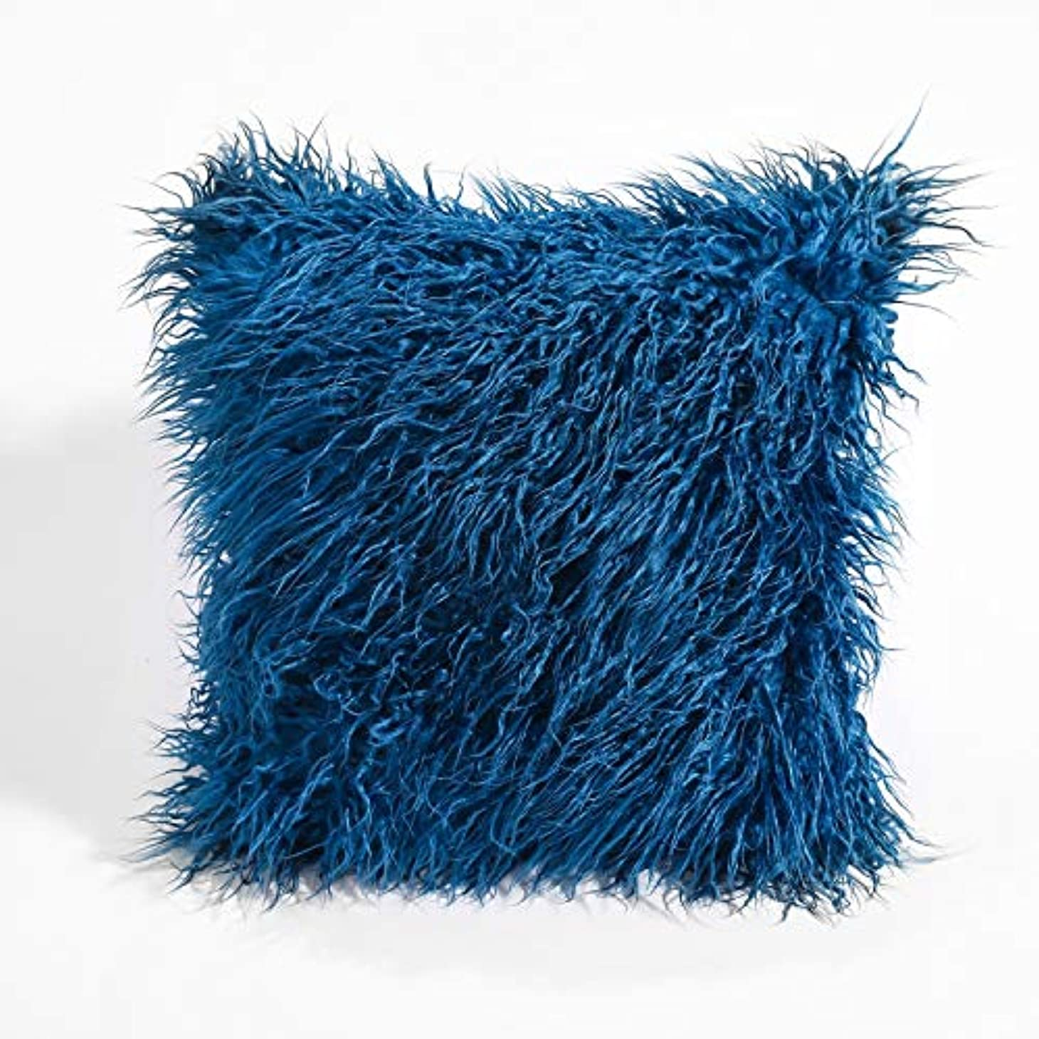 ホールドオール入射講師LVESHOP 装飾的な新しい高級シリーズメリノスタイルブラックフェイクファースローピローケースクッションカバー(5パック) (色 : 青, Size : 5 pack)