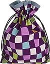 巾着袋 裏地付き 和柄 紫市松模様 日本製 御朱印帳入れ 御朱印帳袋 和雑貨 和柄 和小物 江戸小紋