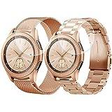 CAGOS Samsung Galaxy Watch (42mm) Bands Rose Gold Sets, 20mm 2 Pack Metal Band+Milanese Loop Mesh Bracelet Strap Galaxy Watch 42mm/ Garmin Vivoactive 3/ Ticwatch E Smartwatch - Rose Gold