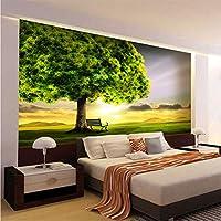 Jason Ming カスタム3D壁画壁紙グリーンツリー日没自然風景壁絵画リビングルームの寝室のインテリアの装飾3D-120X100Cm