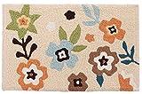 トクラ 玄関マット ブロドリー 刺繍 滑り止め 花柄 ベージュ 約50×80cm