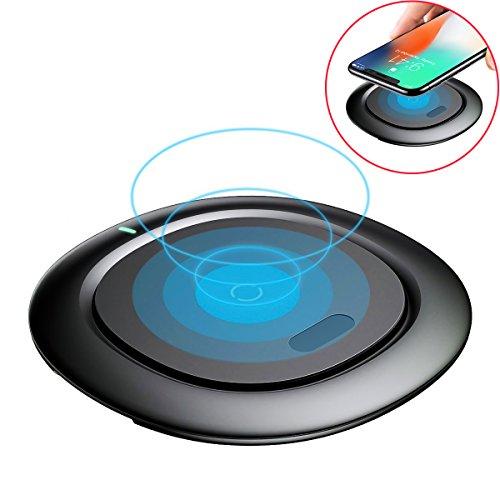 ワイヤレス充電器 Qi ワイヤレスチャージャー チー 急速 10w Quick Charge 2.0 置くだけ充電 コンパクト iPhone X iPhone 8 iPhone 8 Plus Galaxy / Nexus 他 対応 qi 充電器 (ブラック)