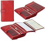 レディース クラッチ 三つ折り長財布 小切手帳入れ付き 押しボタン式 大容量 カードたくさん入る財布(レッド)